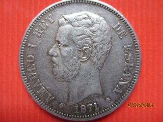 5 pesetas Amadeo I 1871 (*71) variante base columna corta 5_pesetas_Amadeo_I_1871_1