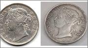 20 centimos de plata 1881 Reina Victoria Hong Kong  Comparacion_anv