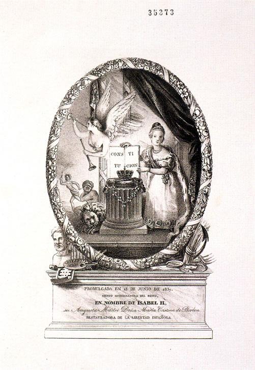 8 maravedis Isabel II 1837 Jubia Alegor_a_de_la_Constituci_n_Espa_ola_1837