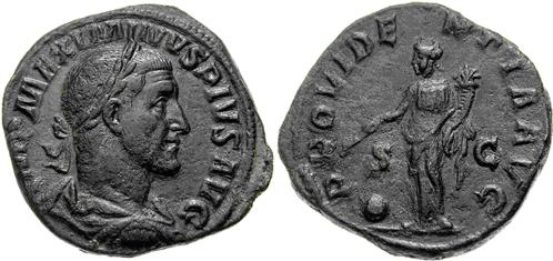 Sestercio de Maximino I. PROVIDENTIA AVG - S C. Providentia estante a izq. Roma. Image