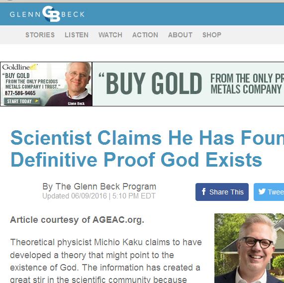 Michio Kaku dit avoir trouvé la preuve définitive de l'existence de Dieu Image