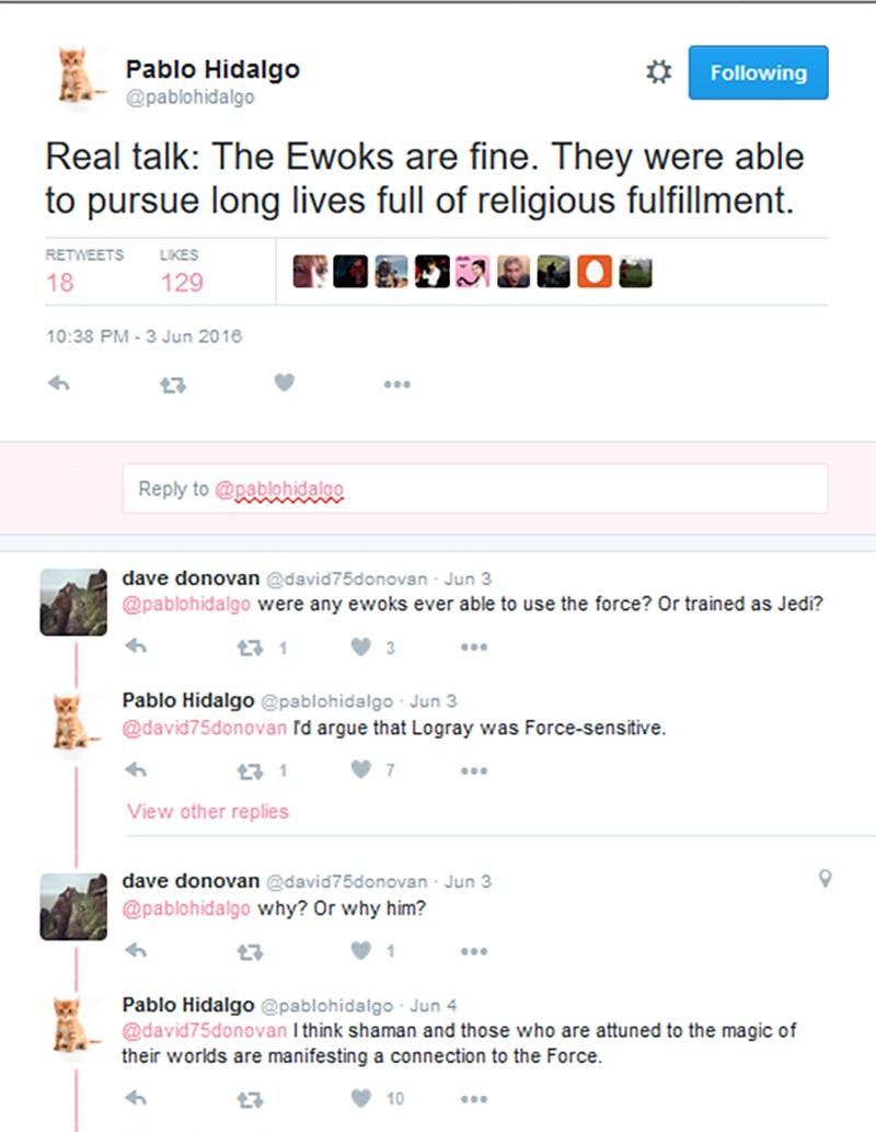 [ARCHIVE] SW Sequel Trilogy Tweets  - Page 2 Ewoks