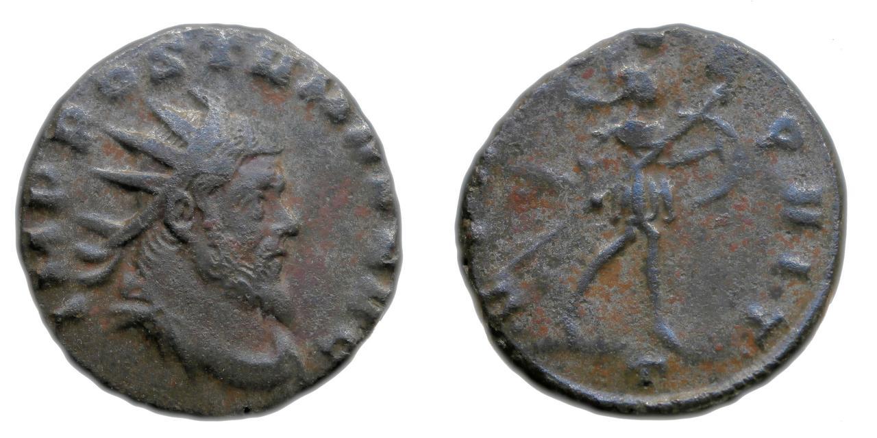 Antoniniano de Póstumo (acuñado por Aureolo). VIRTVS (A)EQVIT. Marte avanzando a dcha. Mediolanum. Sin_t_tulo-1