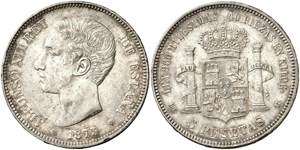 5 Pesetas 1875 Alfonso XII Pátina 2323006l