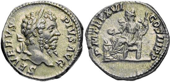 Denario de Septimio Severo. P M TR P XVI COS III P P. Concordia sedente a izq. Roma. Image