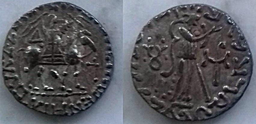 Tetradracma de Vijayamitra a nombre de Azes. Vijayamitra