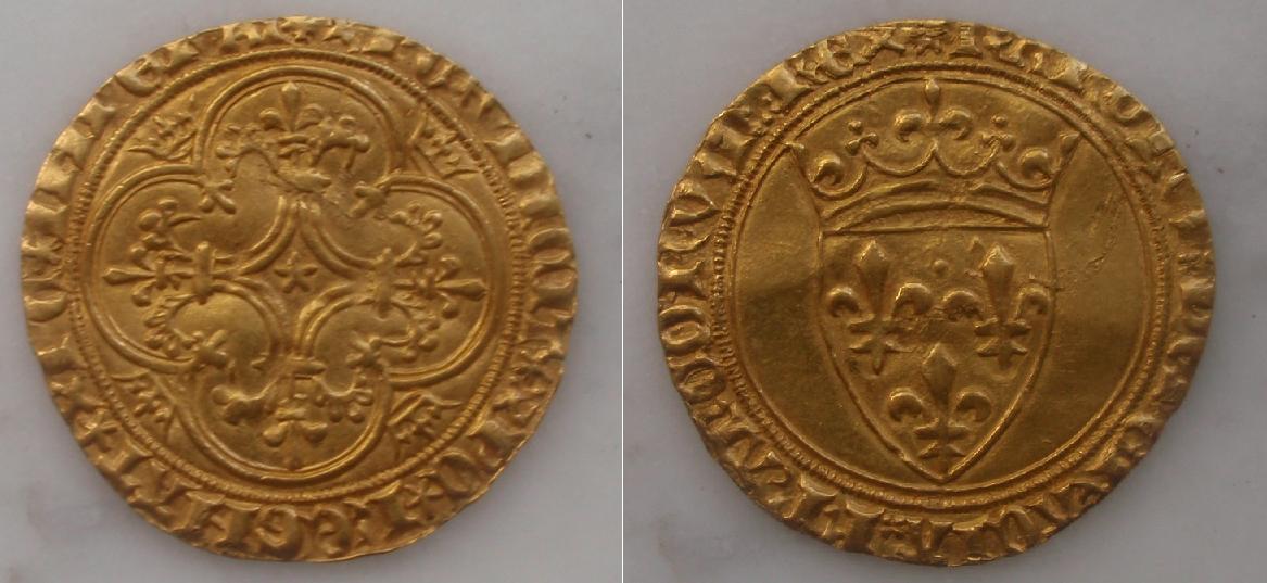 Ecu d'or de Carlos VI  de Francia, primera o segunda emision, acuñado entre 1385 y 1389 0ecudor