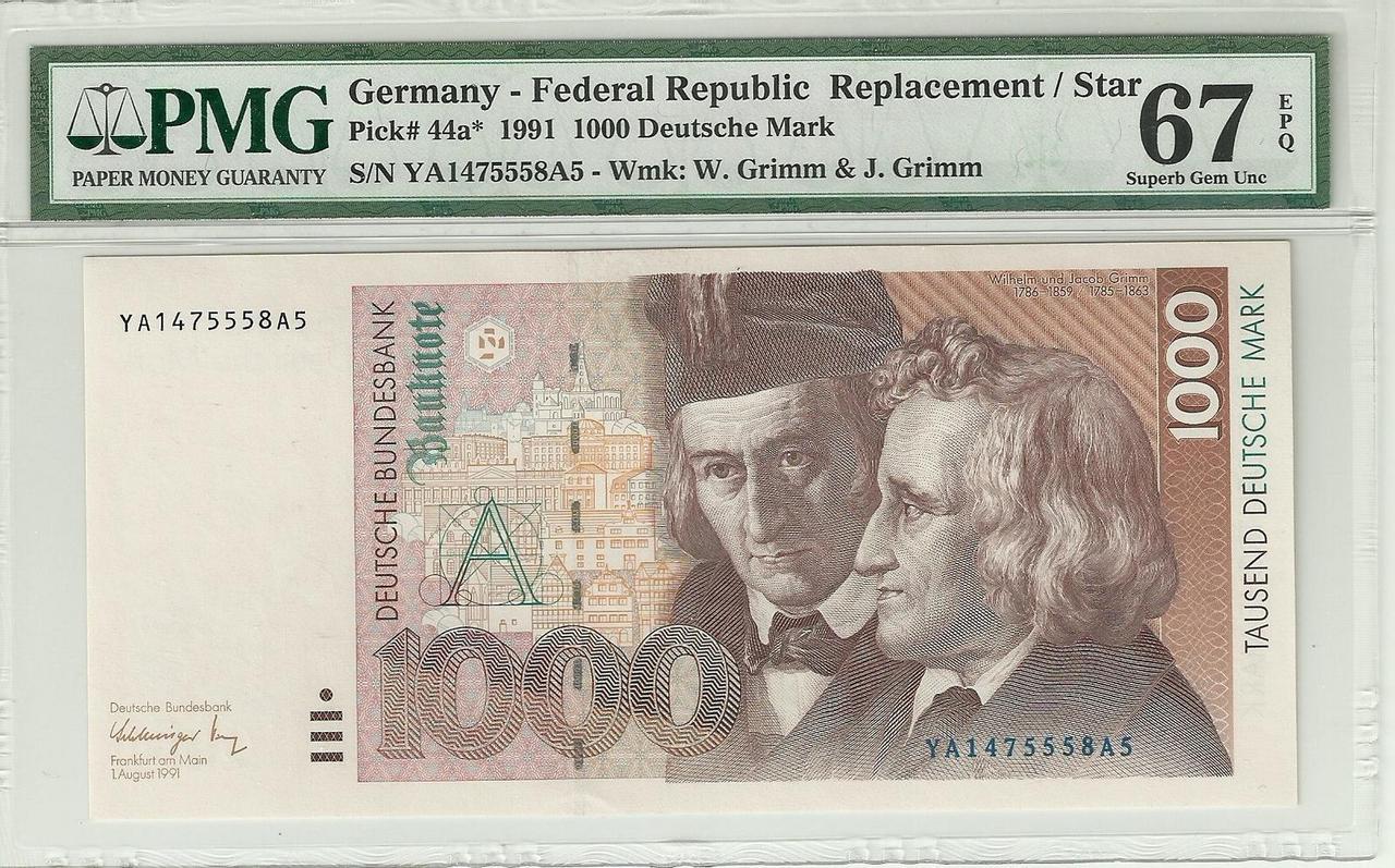 Billetes de reemplazo, no españoles Alemania_1000_1991_anv