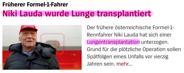 Organspende / Transplantation Lungennikki