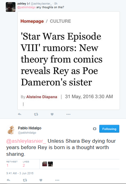 [ARCHIVE] SW Sequel Trilogy Tweets  - Page 2 Shara