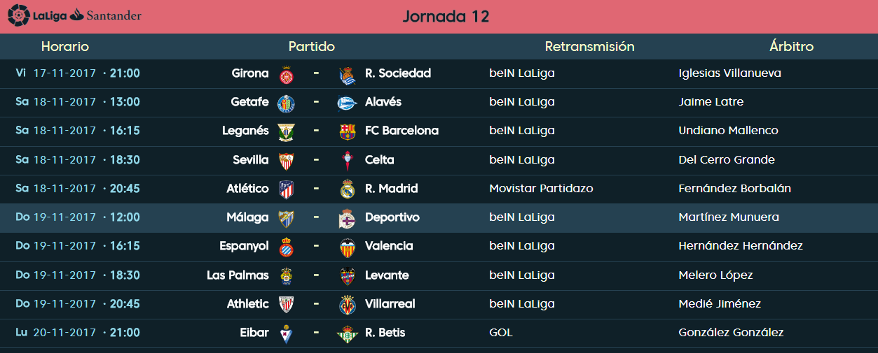 LIGA J12ª: MALAGA CF vs RC DEPORTIVO (Dom 19 Nov 12:00 / BeinSport) LIGA_HORARIOS