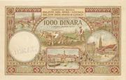 1000 dinares de 1920, Reino de los serbios, croatas y eslovenos 1000_dinara_1