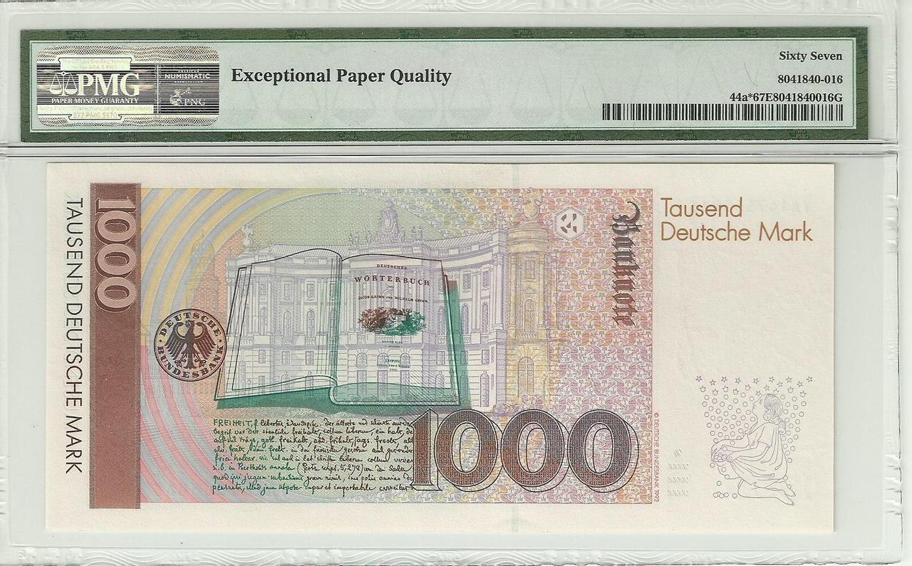 Billetes de reemplazo, no españoles Alemania_1000_1991_rev