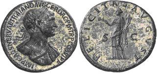 Sestercio de Trajano. FELICITAS AVGVST - S C. Ceca Roma.  Trajano