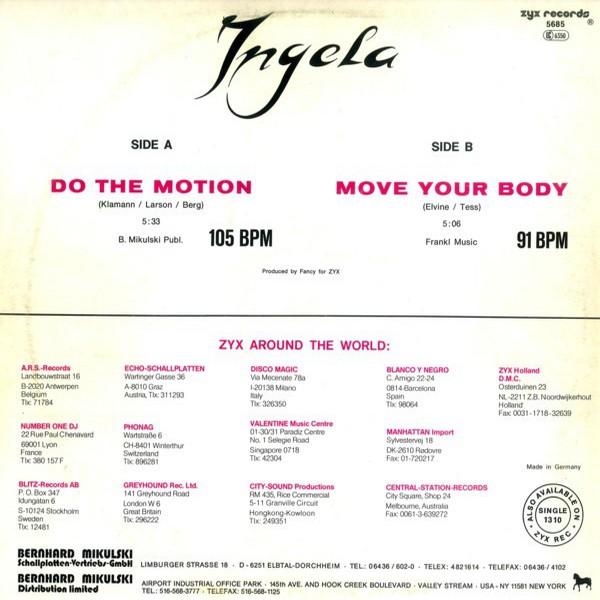 Ingela - Do The Motion (Vinyl, 12'') 1987 Back