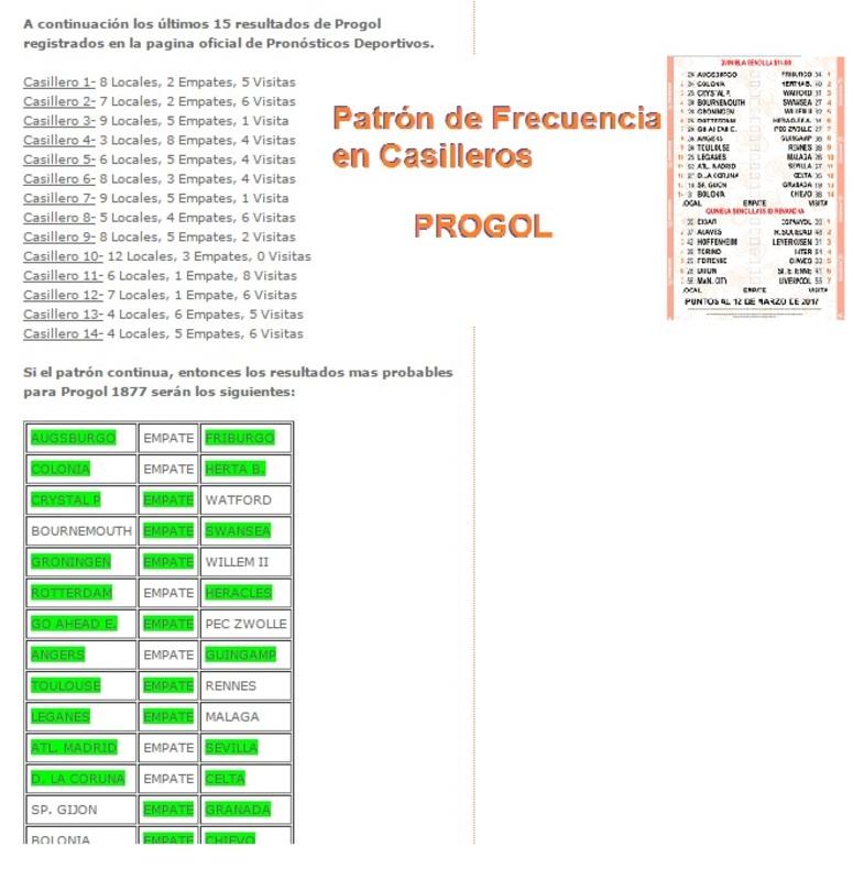 FRECUENCIA PROGOL DE CASILLEROS