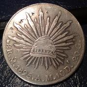 8 reales de México 1895 AM  CIUDAD DE  MEXICO con resellos Image