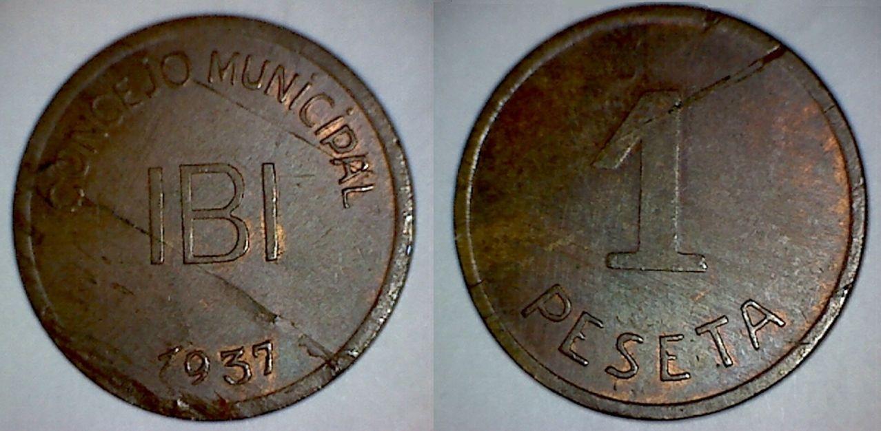 Prueba de la moneda de 1 peseta de Ibi en cobre (sin níquelar) 20_copia
