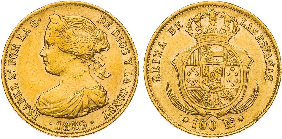100 reales 1859 Isabel II - Barcelona 856