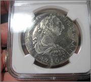 """8 reales 1780. Carlos III. Méjico. Pecio Buque """"El Cazador"""". Certificado NGC. 57_9"""