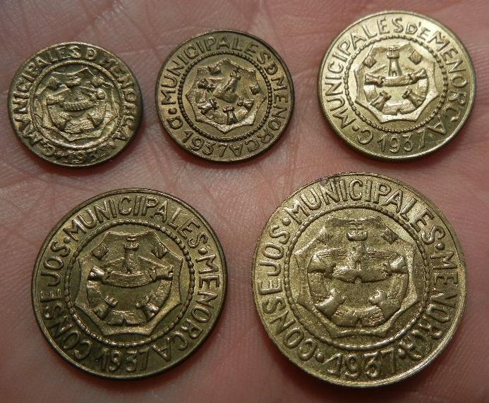 Serie completa de monedas acuñadas por los consejos municipales de Menorca. 1937. SC. Menorca_anversos