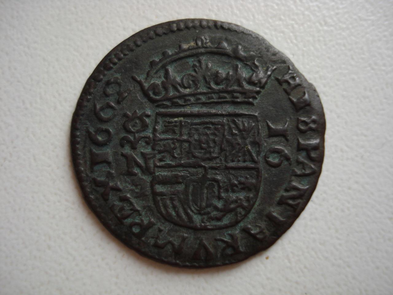 16 maravedís de Felipe IV, 1662, Granada. Monedas_012