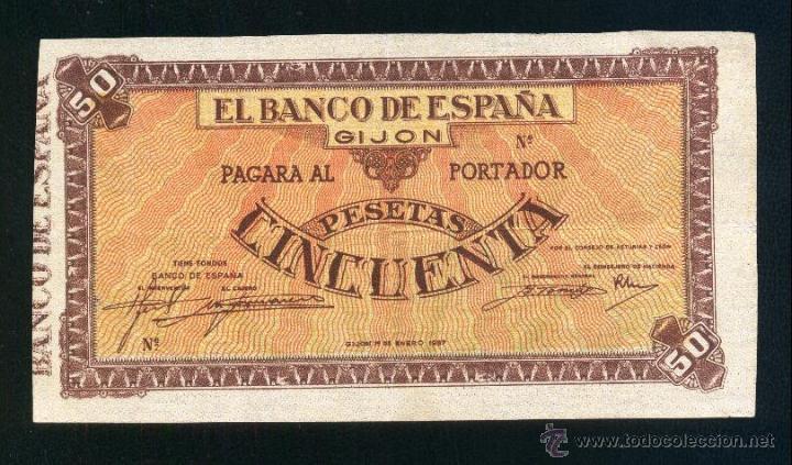 50 Pesetas Banco España Gijón, Enero 1937 (El billete de mis sueños a subastas en Aúreo)  AAA43231234