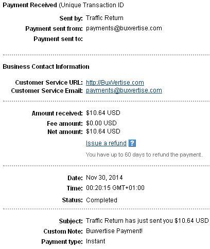 3º Pago de Buxvertise ( $10,64 ) Buxvertisepayment