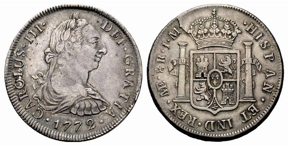 8 Reales 1772 Lima JM Carlos III - Rotura de Cuño (Primer año con Busto) Lima_1772