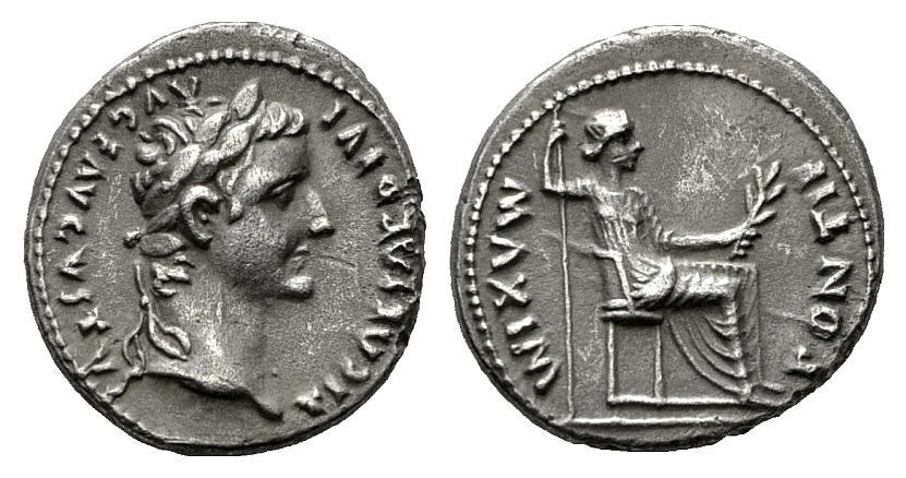 pontif maxim - Denario de Tiberio. PONTIF MAXIM. Lyon 708448