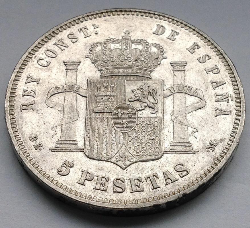 5 pesetas 1877 Alfonso XII Image