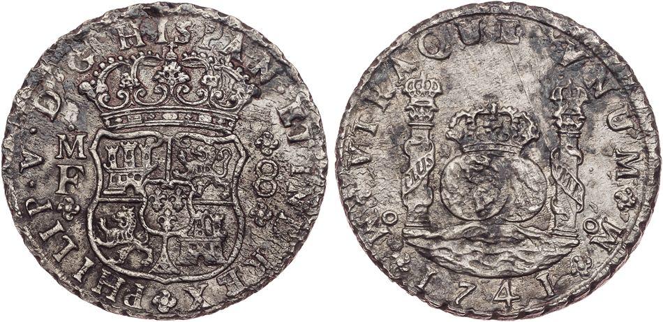 8 reales de Felipe V, México. 1741. Tipo columnario. 2390