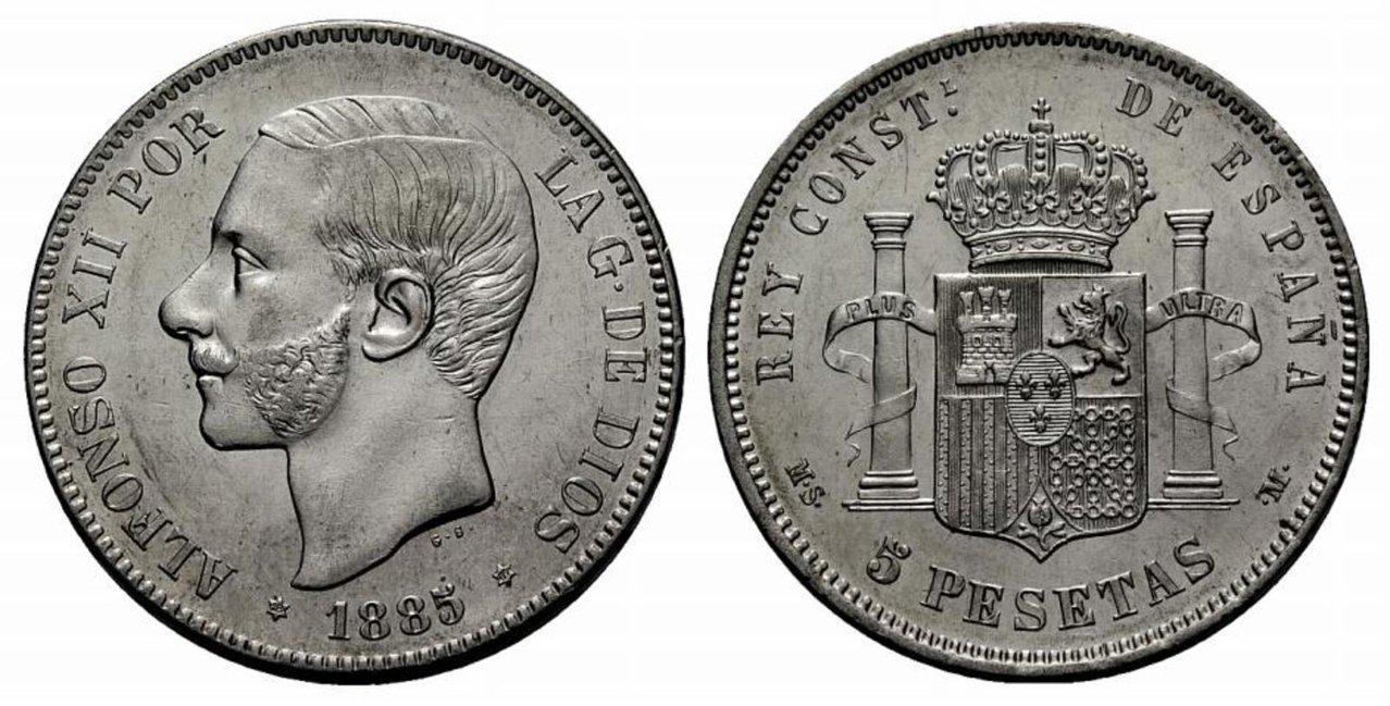 5 Pesetas. 1885*87 ALFONSO XII - MS. M- SC 710784l