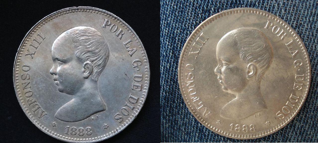 5 pesetas 1888 Alfonso XIII DSC03520