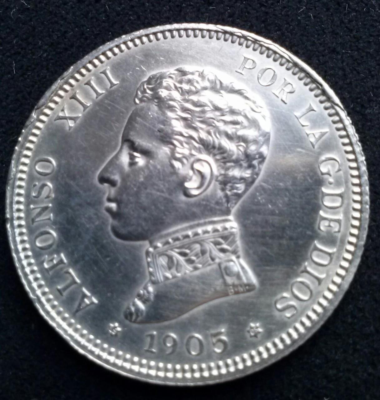 2 pesetas 1905 SMV Madrid,Alfonso XIII,DEDICADA a Estrella 76 CAM00827_1