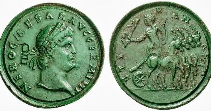 Contorniato o medallón de Trajano REGNA ADSIGNATA / S C. Falsificación. Figura_3_contorniato_con_monograma_PE