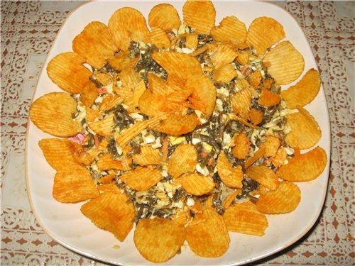 Постный салат из чипсов и морской капусты 900450a156fe