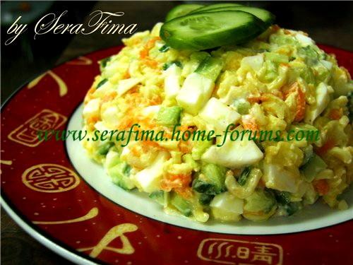 Салат с макаронами быстрого приготовления 3e8b455243f0