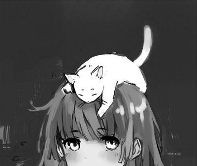 موسوعة صور أنمي منوعة $$$قليلة ونادرة  - صفحة 3 Anime-black-and-white-cat-cute-Favim.com-516025