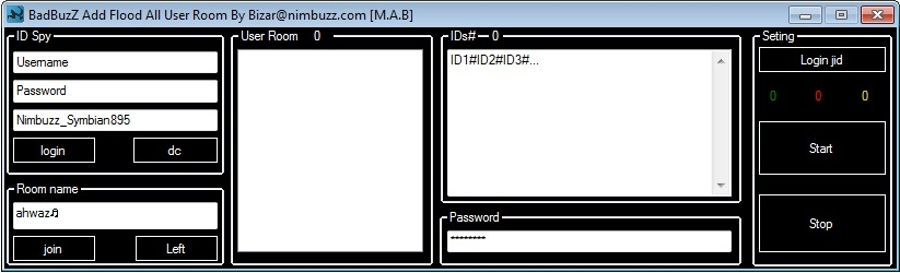 BADBUZZ ADD FLOOD ALL USER ROOM ANTI CAPTCHA BadBuzZ_Add_Flood_All_User_Room_By_Bizar_nimbuzz_com_M_A_B_