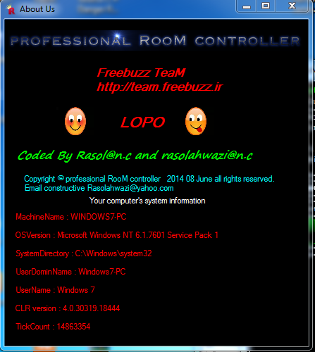 Freebuzz TeaM Source C # professional RooM controller Version 2.0.0 Coded By Rasol@n.c Or Rasolahwazi@n.c 1513510000
