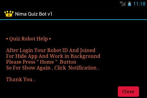 Nimbuzz Quiz Bot for android Help