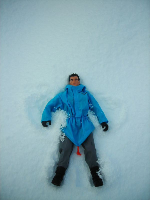 Action Man making a snow angel.  (Ackie88) DSCN1734