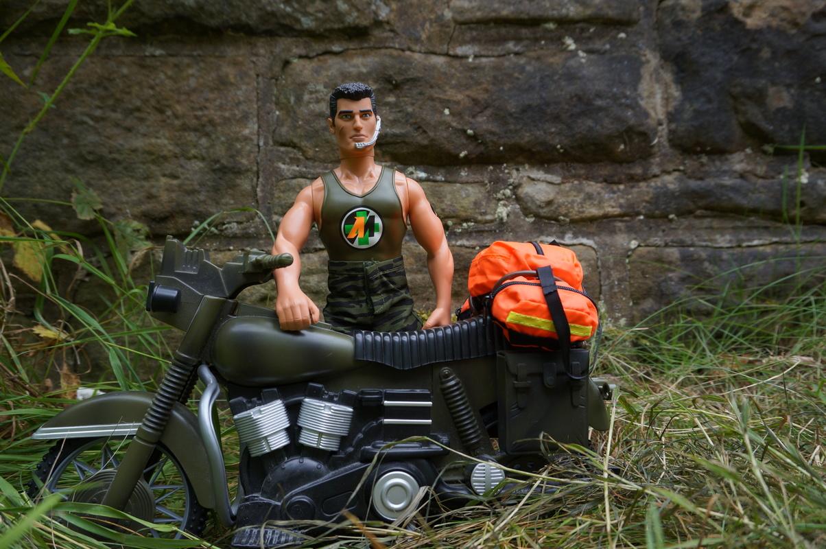 Medical rapid response motor biker posing for the camera DSC00244