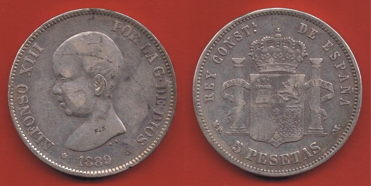 5 pesetas 1889 MPM. Alfonso XIII. Curioso punzón o resello Pieza_41