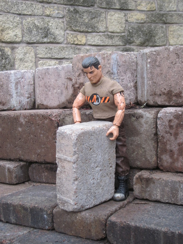 Action Man helping to build a stone and slate shed IMG_2949