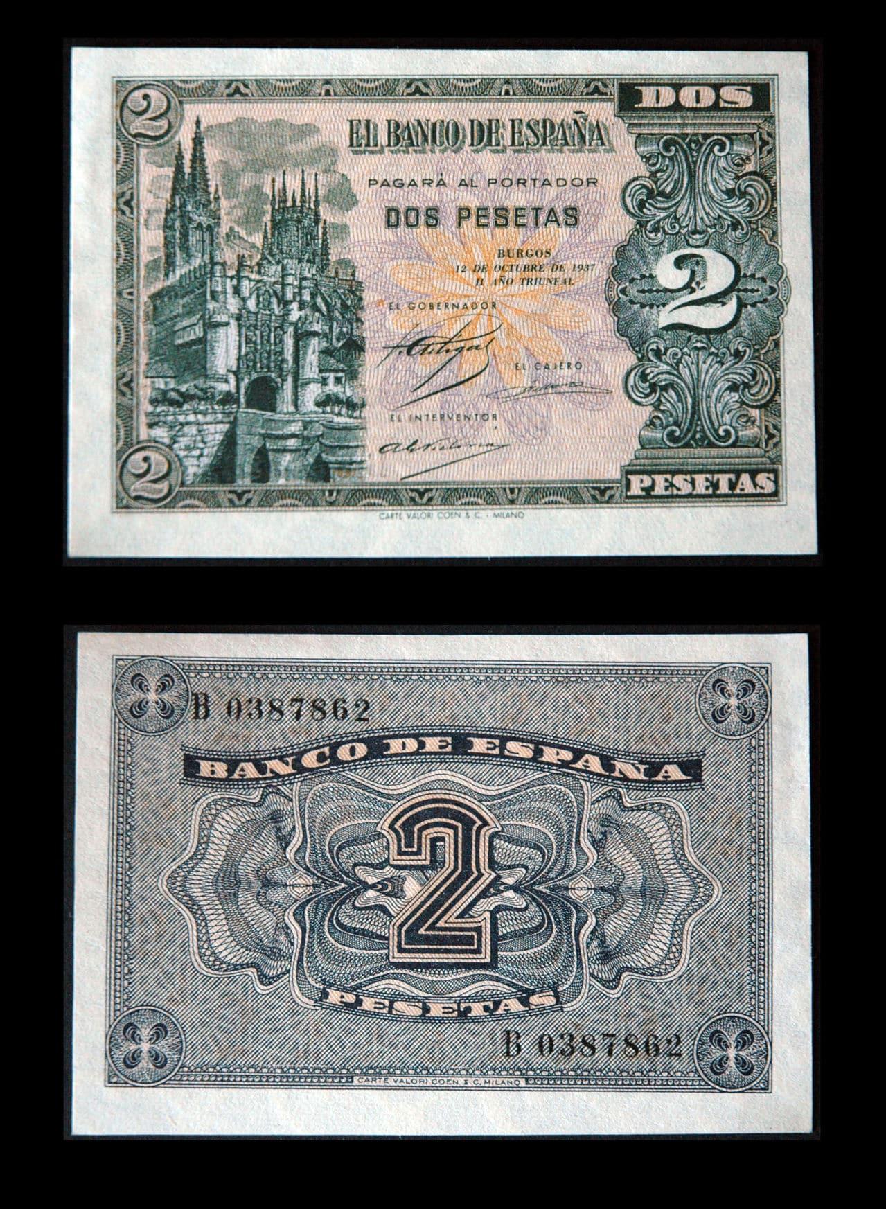 """2 Pesetas 1937. Serie """"B"""" 00347_1936"""