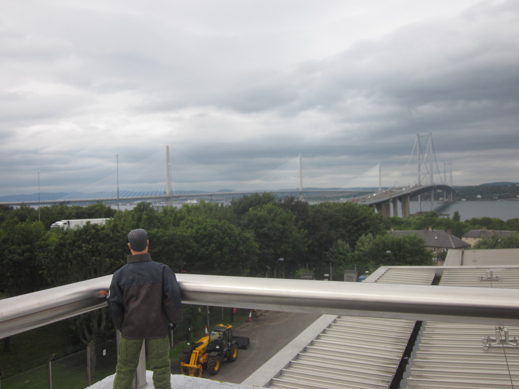 Action Man walking over the Queensferry Crossing. IMG_5350