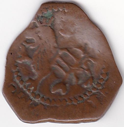 2 Maravedies de Felipe II, Cuenca resellados a IIII mrvs. de 1603 y VI mrvs de 1636. Es3a