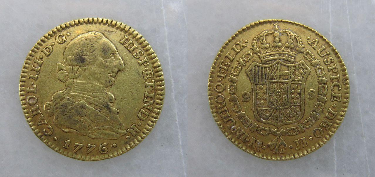 2 escudos 1776. Nuevo Reino. Carlos III 2_escudos_Carlos_III_Nuevo_Reino_1776